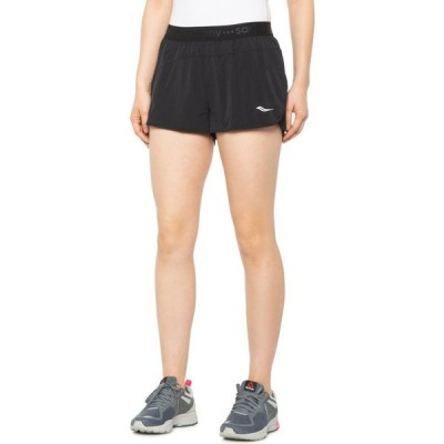 サッカニー Saucony レディース ショートパンツ ボトムス・パンツ Split Second Shorts - Built-In Briefs, 2.5 Black