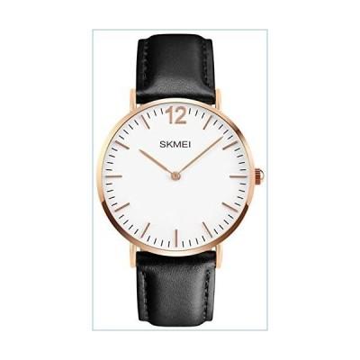 Men's Casual Classic Quartz Analog Waterproof Wrist Watches Stainless Steel Ultrathin Case Dress Watch (Black Leather)並行輸入品