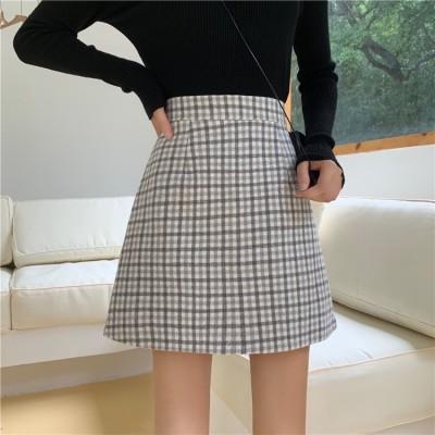 [55555SHOP]レディースボトムス 個性的なデザイン レトロなシンプルなファイン チェック柄 スカート ハイウエスト スリムフィット 短いスカート学生  女性