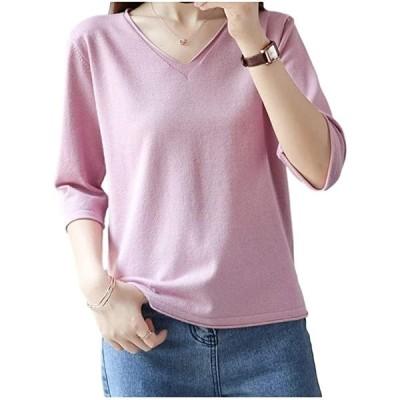 トップス レディース 無地 カットソー 薄手 シンプル 五分袖 半袖 Vネック デコルテ キレイ(ピンク, XL)