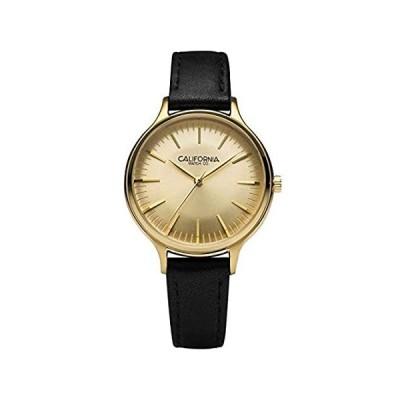 California Watch Co. Laguna 34 レザーブラックゴールド腕時計