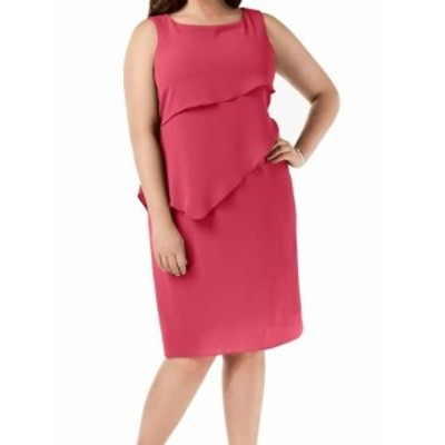 Jessica Howard ジェシカハワード ファッション ドレス Jessica Howard Womens Hot Pink Size 16W Plus Chiffon Tiered Shift Dress