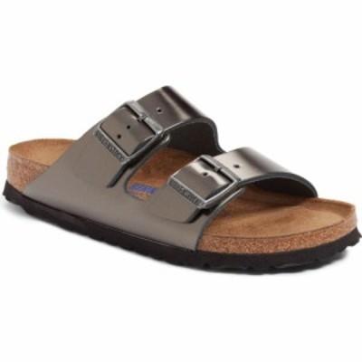 ビルケンシュトック BIRKENSTOCK レディース サンダル・ミュール シューズ・靴 Arizona Soft Footbed Sandal Metallic Anthracite Leathe
