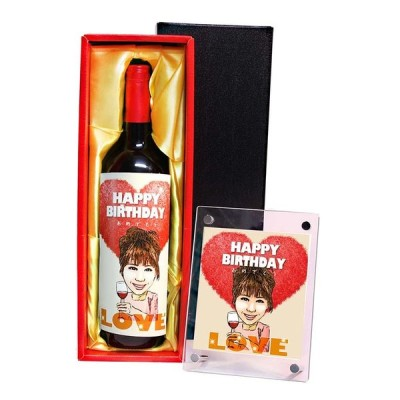 似顔絵ワイン 750ml B-11 フォトフレーム付き 誕生日 プレゼント 友達 友人 彼氏 彼女 男性 女性 先輩 上司 お酒 名入れ 贈答品 お祝い ギフト ワイン 記念品