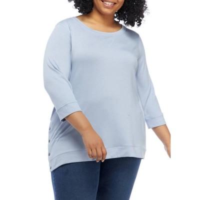 クラウン&アイビー レディース パーカー・スウェット アウター Plus Size Button Side Sweatshirt