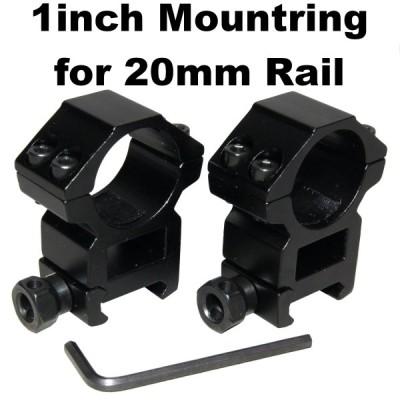 1インチ マウントリング for 20mmレイル 906-1280 ライフルスコープ 25mm 25.4mm タクティカル