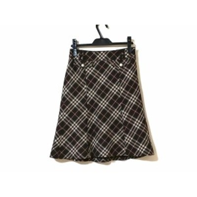 バーバリーブルーレーベル スカート サイズ36 S レディース ダークブラウン×ベージュ×ピンク チェック柄【中古】20200702