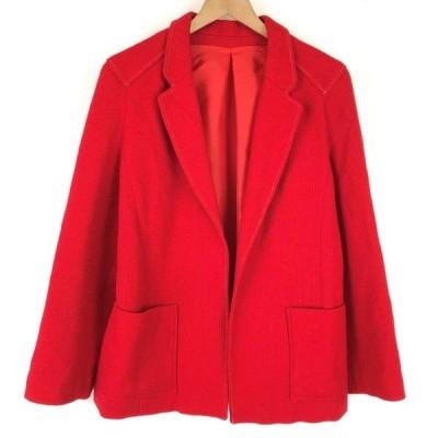 テーラードジャケット ポリエステル/ウール 地柄 無地 裏地付き ハーフ丈 レッド系 レディースM n012617