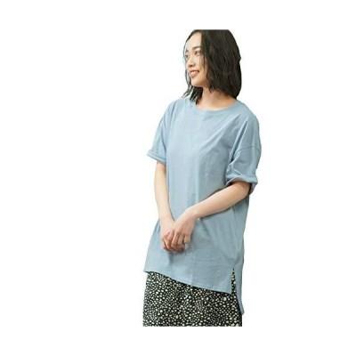 [アドティエ] オーバーサイズチュニックTシャツ レディース カット チュニック ゆったり サイドスリット トップス Tシャツ 10104002(サッ