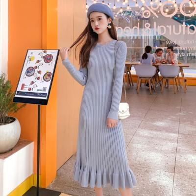 大人が着る、カジュアルワンピ。韓国ファッション 2020  秋 冬 新品 ラウンドネック 中・長セクション ニットワンピース スリムフィット ハイウエスト気質 女性らしい 高品質 大人気