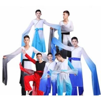 メンズチャイナ風ダンス衣装中華風ダンスウェア舞台社交ダンス服 シフォンシャツ 古典民族ダンス衣装 学園祭文化祭コスプレ衣装 二枚