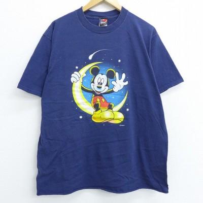 XL/古着 半袖 ビンテージ Tシャツ 90s ディズニー DISNEY ミッキー MICKEY MOUSE 月 コットン クルーネック 紺 ネイビー 20jun25 中古 メンズ
