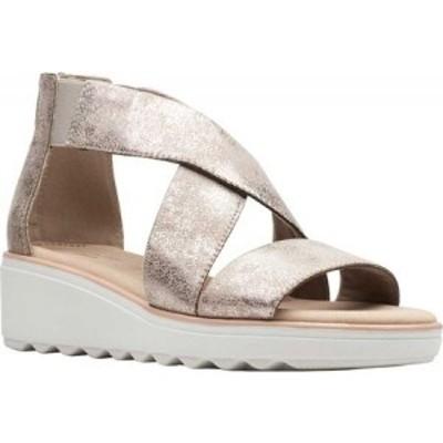 クラークス Clarks レディース サンダル・ミュール ウェッジソール シューズ・靴 Jillian Rise Wedge Sandal Pewter Metallic Leather