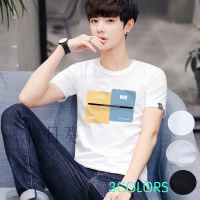 メンズTシャツ 丸首夏tシャツ トップス カジュアル ゆったり おしゃれ  綿 Tシャツ メンズ 半袖 夏物 新作 大きいサイズs~6L白黒