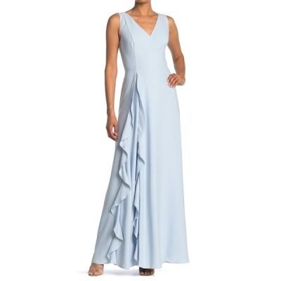 テッドベーカー レディース ワンピース トップス Azaelea V-Neck Ruffle Maxi Dress LIGHT BLUE