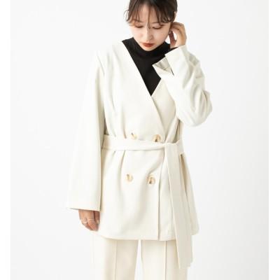 【ミスティック/mystic】 ノーカラーベルトジャケット