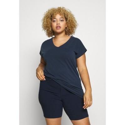 カフェ カーブ Tシャツ レディース トップス KCLINA - Print T-shirt - midnight marine