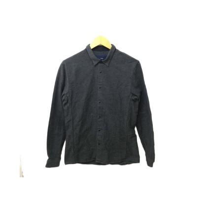 【中古】マクティグ maktig シャツ ネルシャツ スタンダード スナップボタン 無地 長袖 36 グレー メンズ 【ベクトル 古着】