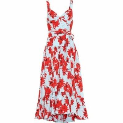 プロエンザ スクーラー Proenza Schouler レディース ワンピース ミドル丈 ワンピース・ドレス Floral crepe midi dress Red/Baby Blue S