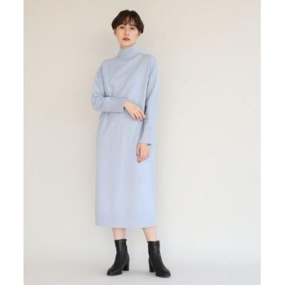 aquagirl/アクアガール 【洗える】ハイネックバックベンツニットワンピ ライトブルー(091) 38(M)