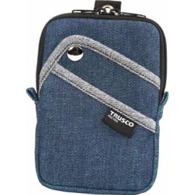 TRUSCO デニムコンパクトケース 3ポケット ブルー TDCK103