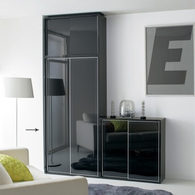 Evan(エヴァン) スライドシェルフ ハイタイプ本棚 幅90cm ブラック