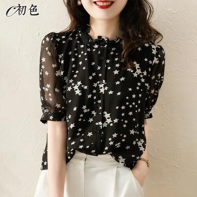 初色  輕盈微透膚星星襯衫-黑色-(M-2XL可選)