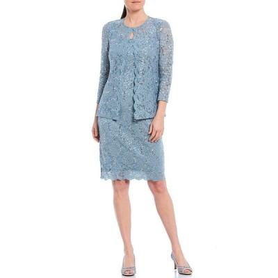 マリーナ レディース ワンピース トップス Scalloped Glitter Lace 2 Piece Jacket Dress Slate