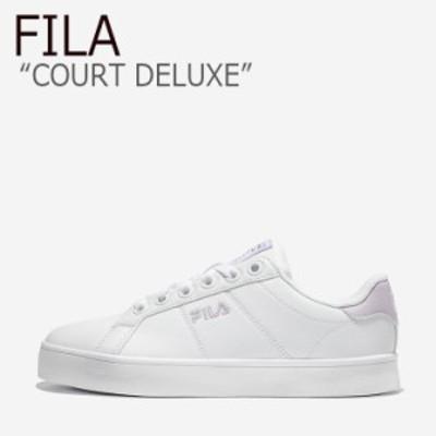 フィラ スニーカー FILA メンズ レディース COURT DELUXE コート デラックス WHITE ホワイト PURPLE パープル 1TM00651D-151 シューズ