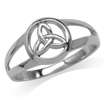 White Gold Plated 925 Sterling Silver Celtic Triquetra/Trinity Knot Ri