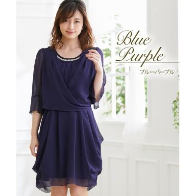 胸元3WAYシフォンドレープワンピースドレス (ワンピース)Dress