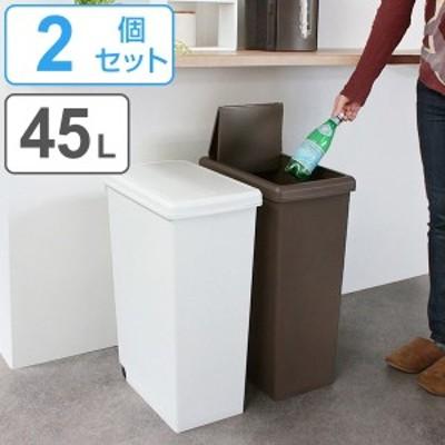 ゴミ箱 2個セット 45L 分別 ふた付き スライドペール 45リットル ごみ箱 ダストボックス 45リトッル ( 屑入れ フタ付き 大容量 プラスチ