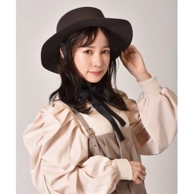 RETRO GIRL / リボン付きフェルトカンカン帽 WOMEN 帽子 > ハット