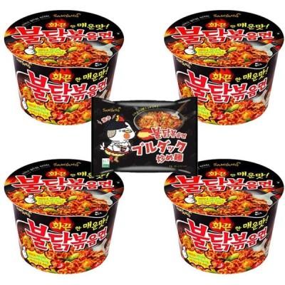 ブルダック炒め麺 カップ 105g×4個セット +ブルダック炒め麺1袋 激辛ラーメン
