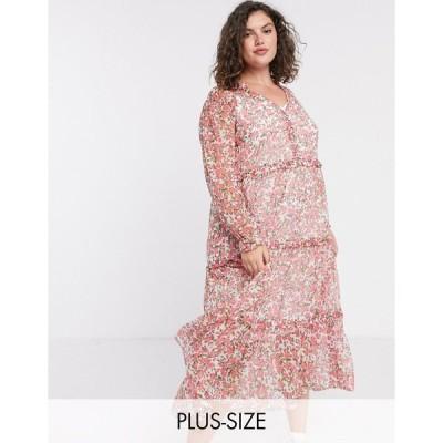 ネオンローズ ドレス 大きいサイズ レディース Neon Rose Plus oversized maxi smock dress with tiered skirt in ditsy floral エイソス ASOS ホワイト 白