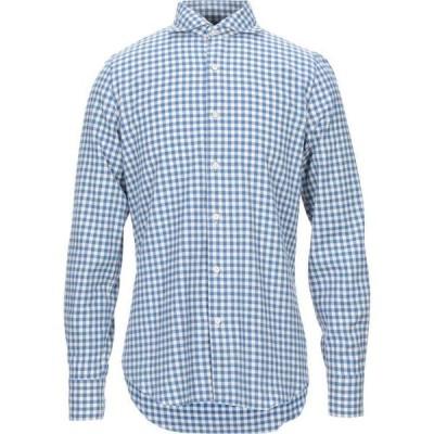 フィナモレ FINAMORE 1925 メンズ シャツ トップス checked shirt Azure