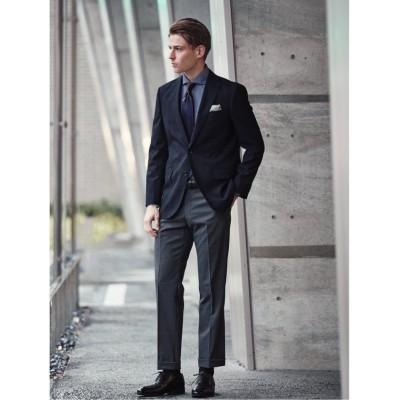 【タカキュー】 ウール混ドッツ コーディネート2パンツ レギュラーフィット2釦スーツ 紺チェック メンズ ネイビー A5 TAKA-Q