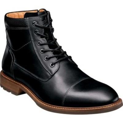 フローシャイム メンズ ブーツ&レインブーツ シューズ Lodge Cap Toe Lace Up Ankle Boot Black Crazy Horse Leather