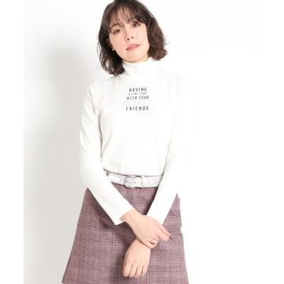 adabat / 【吸湿発熱】センターロゴ ハイネックプルオーバー WOMEN トップス > Tシャツ/カットソー