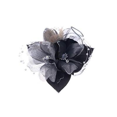 日本製コサージュ サテンパール芙蓉291 入学式 入園式 卒業式 卒園式 (ブラック)