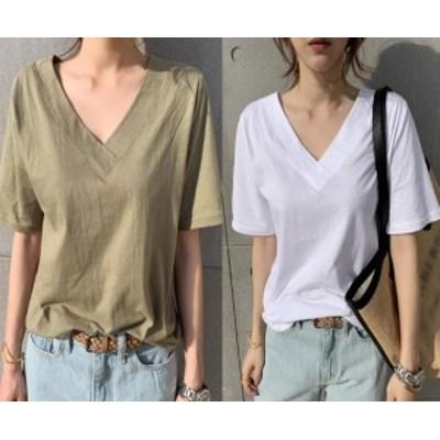 Tシャツ レディース 半袖 トップス カットソー カジュアル Vネック ゆったり シンプル 単色