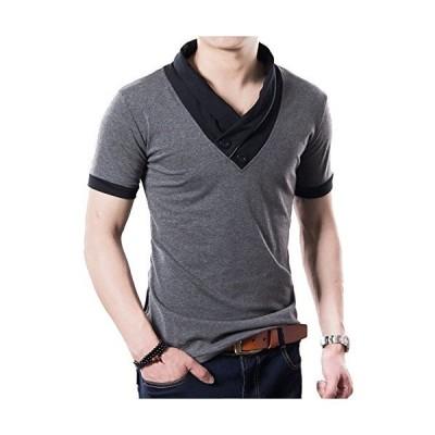 Veamor メンズ スタイリッシュ ボタン スリム Vネック 長袖 半袖 Tシャツ スカーフ風 カジュアル シャツ カ?