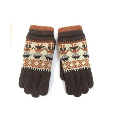 ファッション 手袋 5本指 グローブ ボアニット ブラウン アームウォーマー てぶくろ