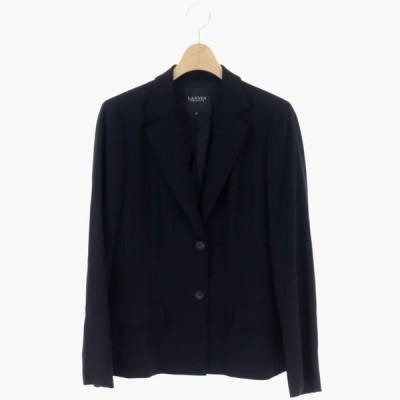 【中古】ランバン LANVIN コレクション COLLECTION テーラードジャケット 2B ウール ロゴボタン 42 黒 ブラック /CM レディース 【ベクトル 古着】