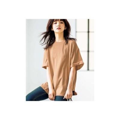 ジーラ GeeRA綿100%ビッグシルエットTシャツ (モカ)
