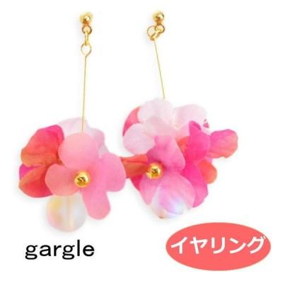 ガーグル イヤリング gargle 花かざり2ピンク er18r-3438 造花 樹脂ノンホール