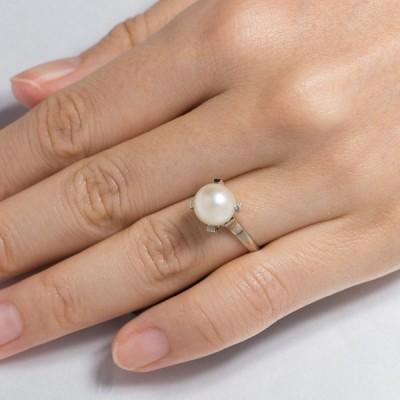 真珠 リング 指輪 アコヤ あこや パール 伊勢志摩 卸 8.5mm k14wg 誕生石 6月 プレゼント用