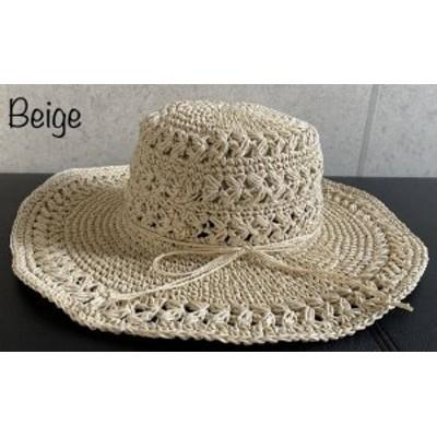 帽子 ペーパー キャペリン 透かし レース編み つば広ハット 模様 接触冷感 麦わら帽子 ナチュラル サイズ調整 春 夏 紫外線対策 レディー