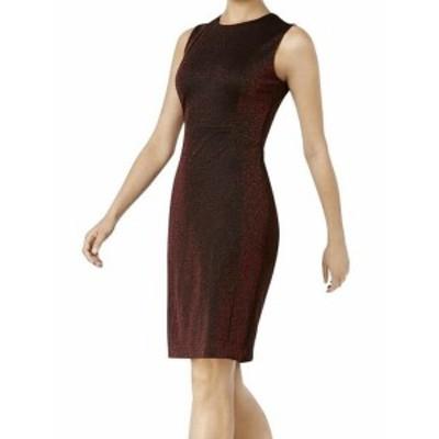 Calvin Klein カルバンクライン ファッション ドレス Calvin Klein NEW Red Womens Size 12 Sparkle Sleeveless Sheath Dress