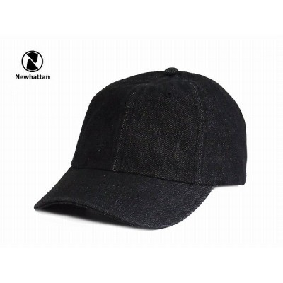 ☆NEWHATTAN【ニューハッタン】COTTON DENIM CAP-RIGID BLACK コットン デニム キャップ ブラック13385